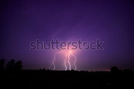 Nubi tuono tempesta Ungheria albero Foto d'archivio © Fesus