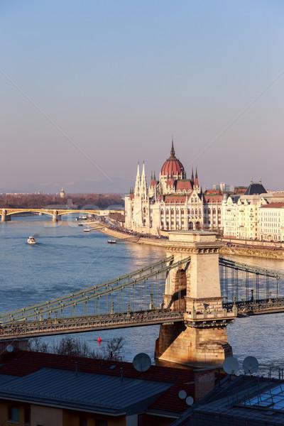 The famous chain bridge in Budapest, Hungary Stock photo © Fesus