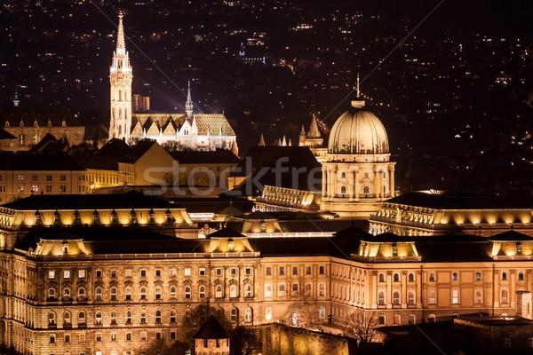 Budapest kastély naplemente Magyarország narancs kék Stock fotó © Fesus