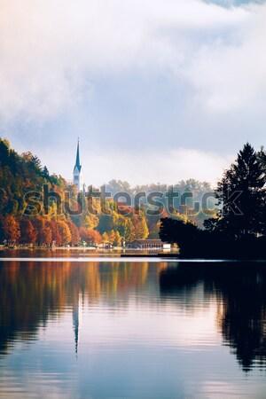 Lago Slovenia Europa isola castello montagna Foto d'archivio © Fesus