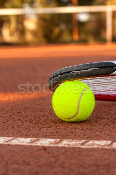 Tennis ball and racquet on a tennis clay court Stock photo © Fesus