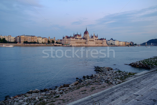Húngaro parlamento edifício noite pôr do sol Budapeste Foto stock © Fesus