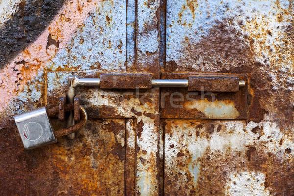 lock on rusty iron door Stock photo © Fesus