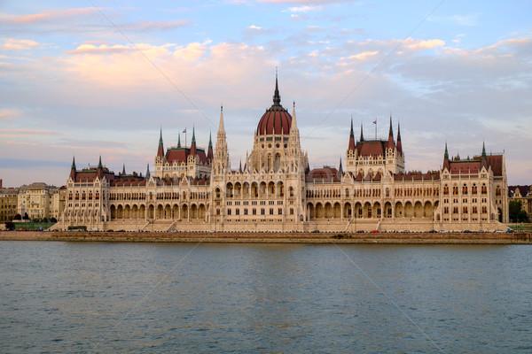 Húngaro parlamento edifício pôr do sol Budapeste Hungria Foto stock © Fesus