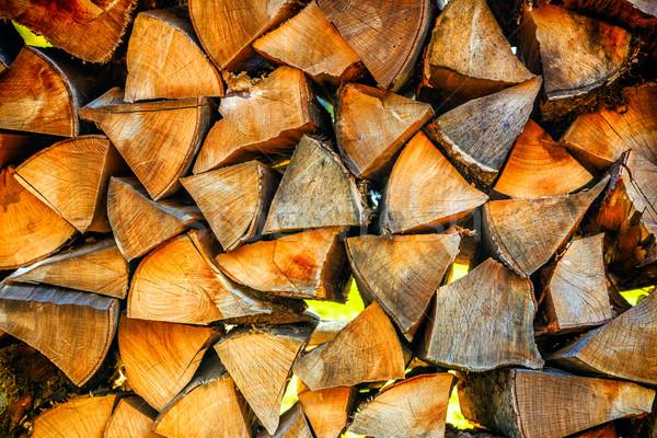 Stok fotoğraf: Kuru · kıyılmış · yakacak · odun · hazır · kış · ahşap