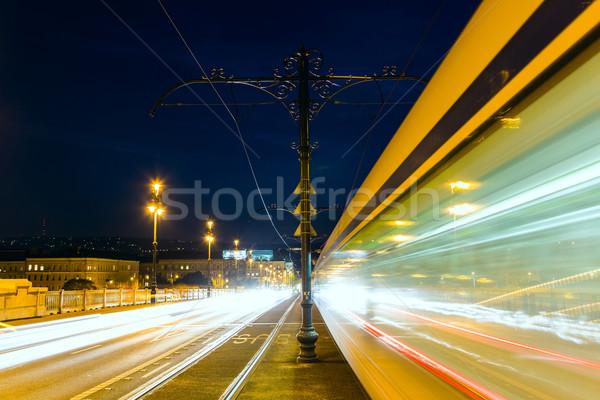 Margaret bridge at the night in  Budapest Stock photo © Fesus