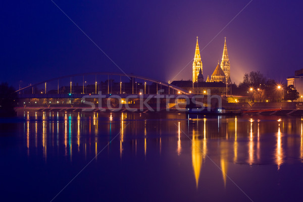 Night view of Szeged city in Hungary Stock photo © Fesus