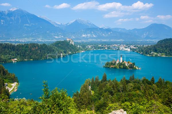 ストックフォト: 湖 · 夏 · スロベニア · ヨーロッパ · 水 · 山