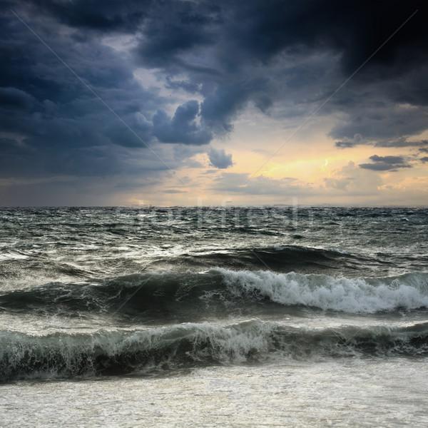 Ver tempestade marinha costa Espanha praia Foto stock © Fesus