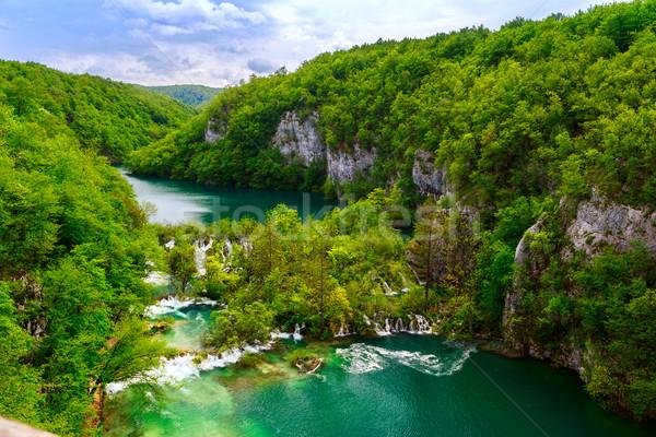 Widok z lotu ptaka parku Chorwacja wody drzewo lasu Zdjęcia stock © Fesus
