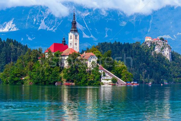 Göl ada kale dağlar Slovenya Avrupa Stok fotoğraf © Fesus
