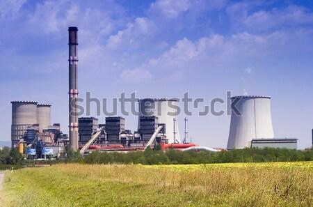ストックフォト: 石炭 · 発電所 · 空 · 建設 · 青 · 産業