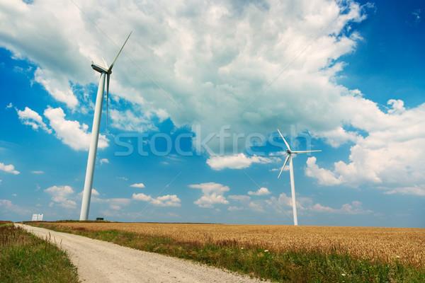 Wind Roemenië technologie veld Blauw Stockfoto © Fesus