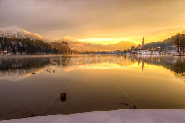 Tó tél Szlovénia Európa elképesztő napfelkelte Stock fotó © Fesus