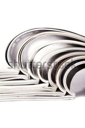 Tijdschriften witte papier communicatie print bibliotheek Stockfoto © Fesus