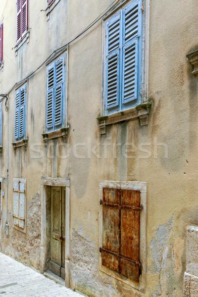 Vintage Windows древесины жалюзи широкий открытых Сток-фото © Fesus