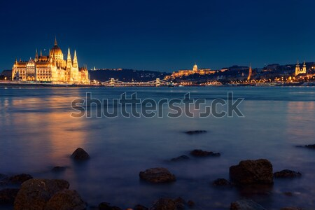 Hungarian landmarks,panorama of Budapest at night Stock photo © Fesus