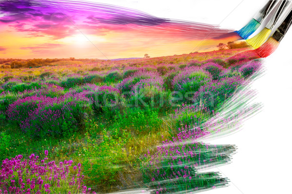 artist brush painting picture of beautiful landscape  Stock photo © Fesus