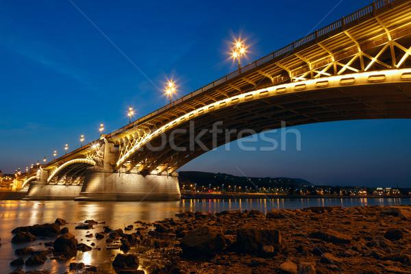 Margaret bridge at dusk in Budapest Stock photo © Fesus