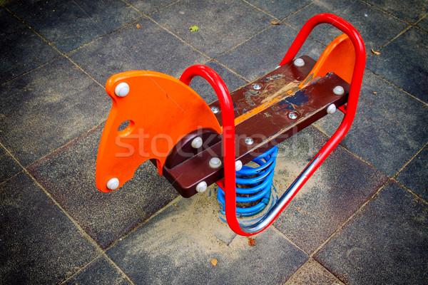 Cheval Swing parc vide aire de jeux ville Photo stock © Fesus