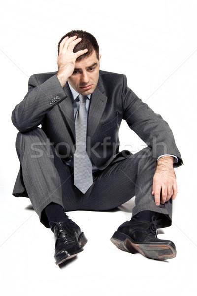 Endişeli işadamı beyaz ofis adam takım elbise Stok fotoğraf © Fesus