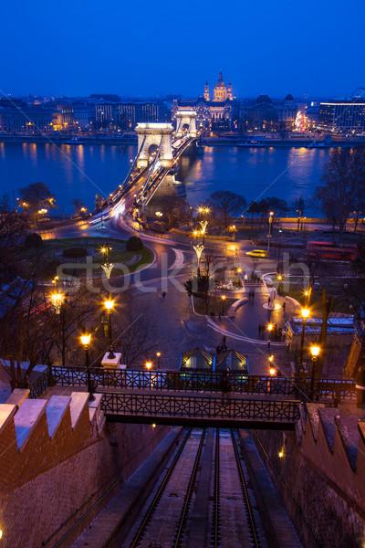 The Chain Bridge in Budapes Stock photo © Fesus