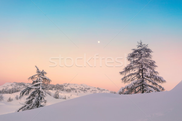 Varázslatos naplemente tél Alpok hegyek égbolt Stock fotó © Fesus