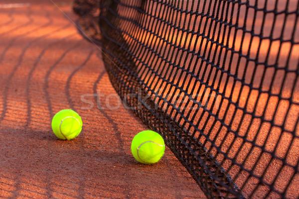 Tennis ball on a tennis clay court Stock photo © Fesus