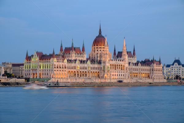 Hongaars parlement gebouw nacht Boedapest Hongarije Stockfoto © Fesus
