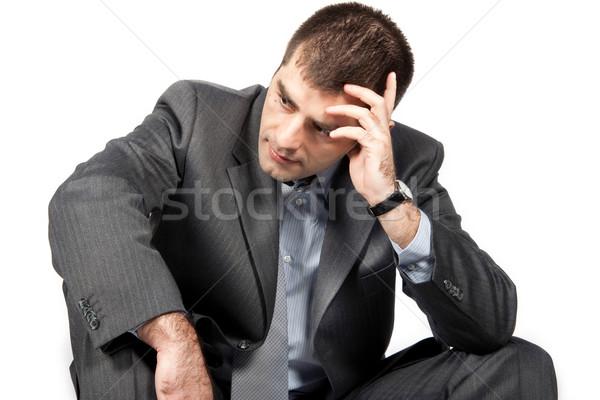 Aggódó üzletember fehér iroda férfi öltöny Stock fotó © Fesus