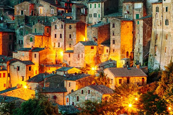 Város Toszkána Olaszország gyönyörű középkori város Stock fotó © Fesus