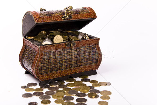 Stock photo: Wooden chest with coins