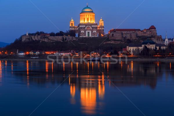 Bazilika Magyarország város északi helyes bank Stock fotó © Fesus