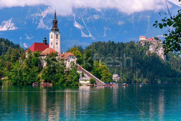 Lac île montagnes Slovénie Europe ciel Photo stock © Fesus