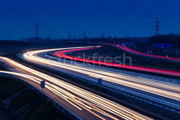 Speed traffic light trails on motorway M0 to Budapest Stock photo © Fesus