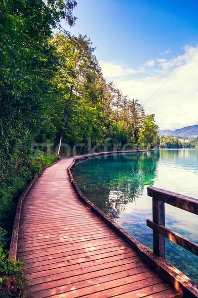 Wooden walkway around the lake Bled Stock photo © Fesus