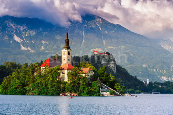 Bled with lake, island, castle and mountains Stock photo © Fesus