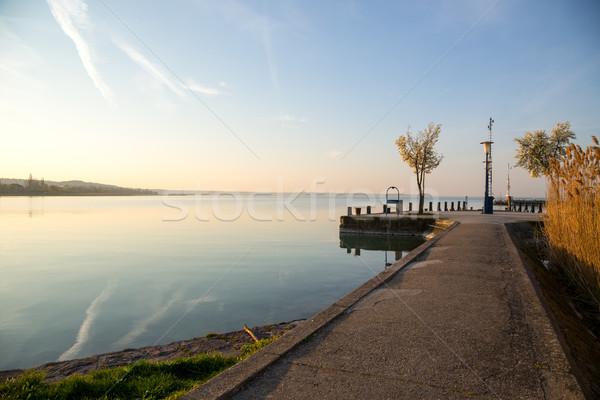 Nice sunrise lac Balaton Hongrie plage Photo stock © Fesus
