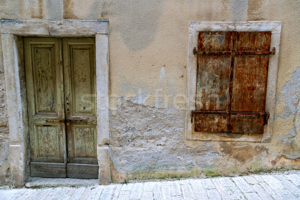 Vintage windows with wood shutters Stock photo © Fesus