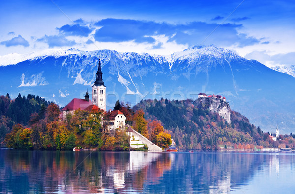 озеро острове замок гор Словения Европа Сток-фото © Fesus