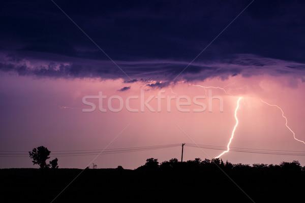 Bulutlar gök gürültüsü fırtına bulutları fırtına Macaristan ağaç Stok fotoğraf © Fesus