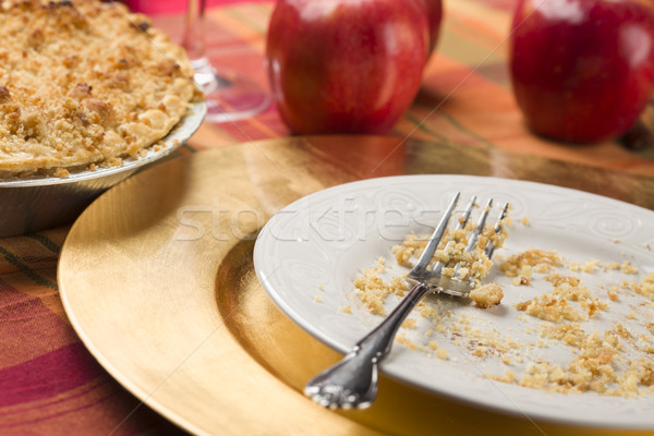 Stock photo: Apple Pie and Empty Plate with Remaining Crumbs