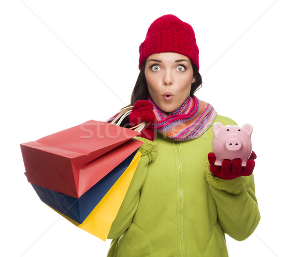Concerned Expressive Mixed Race Woman Holding Shopping Bags and  Stock photo © feverpitch