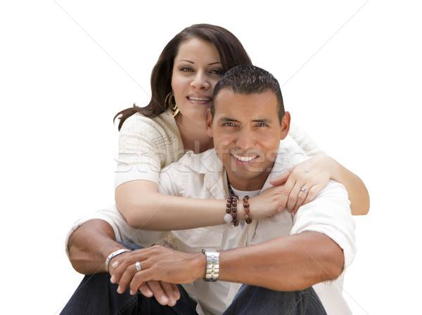 Happy Hispanic Young Couple Isolated on White Stock photo © feverpitch