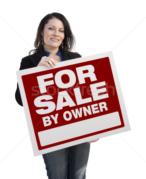 Hispanic Woman Holding For Sale By Owner Sign On White Stock photo © feverpitch