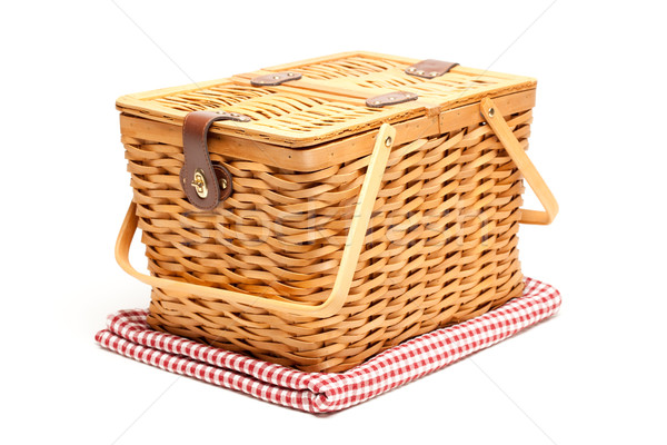 Picnic Basket and Folded Blanket Isolated Stock photo © feverpitch