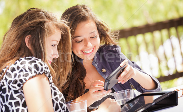 Expressive Young Adult Girlfriends Using Their Computer Electron Stock photo © feverpitch