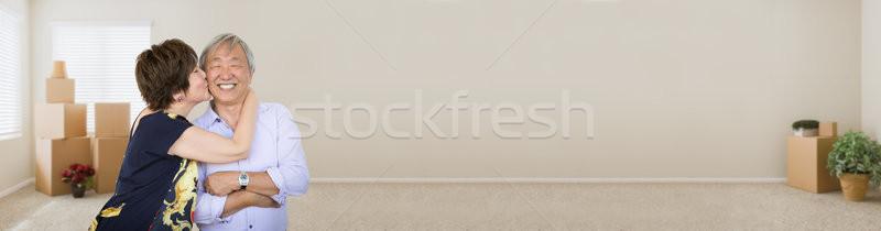 Stock fotó: Szalag · idős · kínai · pár · bent · üres · szoba