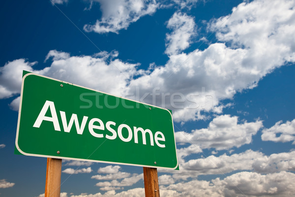 Awesome Green Road Sign with Sky Stock photo © feverpitch
