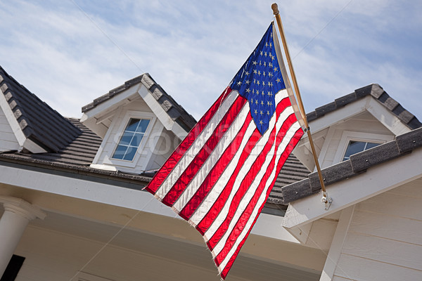 Abstract House Facade & American Flag Stock photo © feverpitch